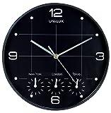 Unilux Reloj de Pared On Time, 30 cm, Negro, Reloj Mundial New York, Londres, París, Hong Kong