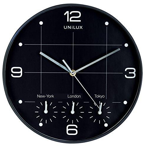 Unilux Wanduhr On Time, 30cm, schwarz, Welt-Uhr, New York, London, Paris, Hong Kong
