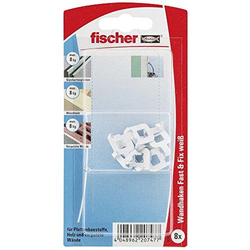fischer Fast & Fix weiß - Wandhaken zum werkzeuglosen Befestigen von Bildern, Kleinteilen in Gipskarton, Weichholz, Putz - 8 Stück - Art.-Nr. 531116