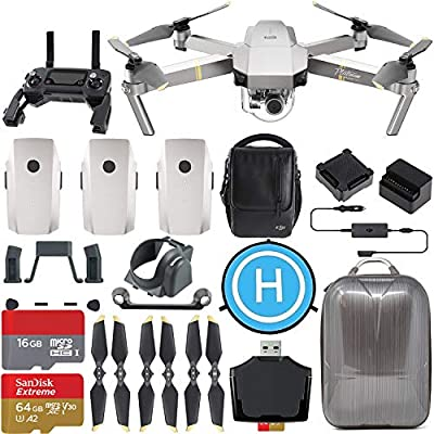 DJI Mavic Pro Platinum Fly More Combo Ultimate Travel Bundle with 3 Batteries, Aluminum Case, SanDisk 64GB Memory + Flymore Starter Kit from DJI