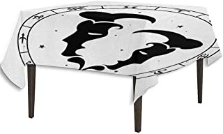 Zodiac Gemini Printed Tablecloth Zodiac Wheel with Twelve Signs Abstract Male Portraits with Stars Tattoo Outdoor and Indoor use W54.3 x L54.3 Inch Black and White