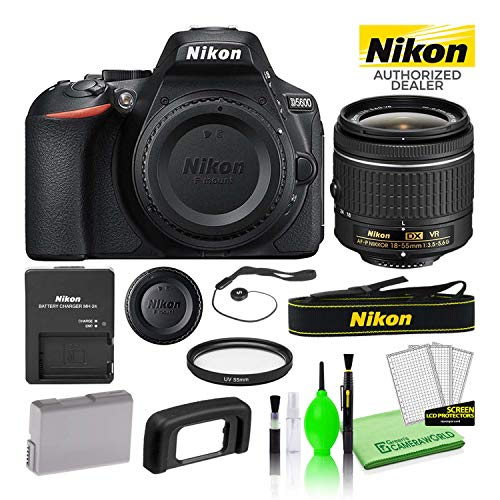 Nikon D5600 24.2MP DSLR Digital Camera with AF-P DX 18-55mm Lens (1576) USA Model Best Value Starter Bundle Includes 55mm UV Filter + Battery + Battery Charger + Deluxe Cleaning Kit + Much More