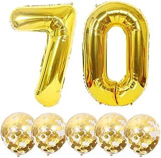 Globos número 70 y confeti dorado, globo número 70 de oro