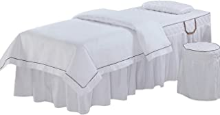 Massage Table Sheet Sets, Pure Color, 4 Pieces, Bedspread with Face Rest Hole, Customizable (White)