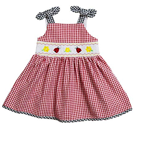 Good Lad Toddler Girls Red Seersucker Smocked Sundress with Ladybug Embroideries (4T)