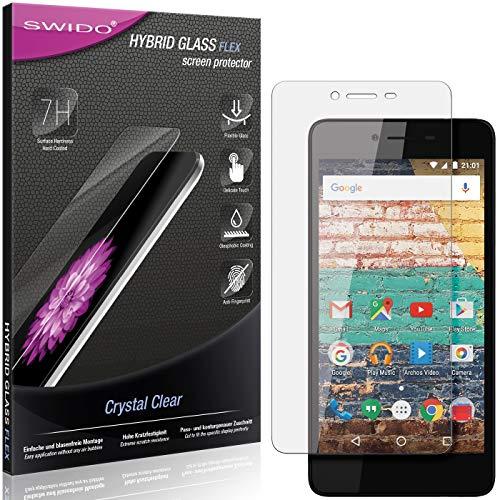 SWIDO Panzerglas Schutzfolie kompatibel mit Archos 50e Neon Bildschirmschutz-Folie & Glas = biegsames HYBRIDGLAS, splitterfrei, Anti-Fingerprint KLAR - HD-Clear