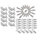 MZMing [60 Piezas] 3 Estilos de Clavijas de Soporte de Estante de Metálico Incluyendo Soportes en Forma de L/Clavijas de Estante de Estilo de Cuchara Plana/Pasadores de Estante de Forma Cilíndrica