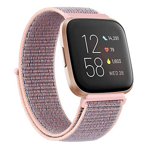 Adjustable Nylon Bands Compatible with Fitbit Versa 2 / Fitbit Versa/Versa Lite/Versa SE, Soft Breathable Sport Replacement Wristbands for Fitbit Versa Smart Watch Women Men (Pink Sand)