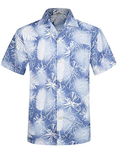 Herren Hawaii Hemd Kurzarm Flamingos Aloha Party Shirt Palm Beach Shirts Feather Print EHS003-2XL