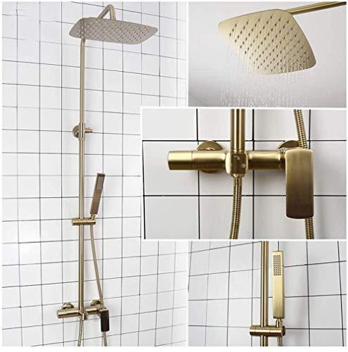 Duschsystem mit Warm- und Kaltwasser-Badezimmer-Duschkombination Multifunktions-Einhand-Duscharmatur-Set mit DuschkopfHandbrauseBadewanne Wasserhahn Gebürstetes Gold