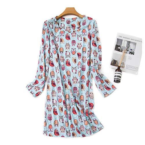 Jecarden Camisón corto para mujer, pijama de verano largo, de algodón, cuello redondo, de manga corta, para casa, pijamas, camisón sexy, vestido de playa N.º 3 XL