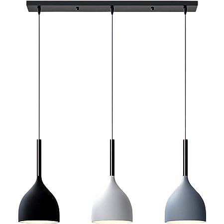 LFsem Nordique Moderne Suspension Lampe en Métal Plafonnier 3 Têtes Luminaire Suspension E27 Loft Salle à manger Restaurant Chambre Luminaire Plafonnier (Droit)