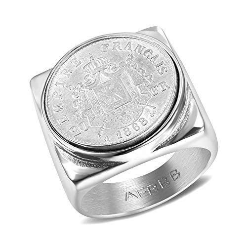 BOBIJOO JEWELRY - Siegelring Ring Napoleon III Münze des Französischen Empire 20 FRS Stahl 316L Voll Quadratischen Louis - 21 (11 US), Edelstahl 316