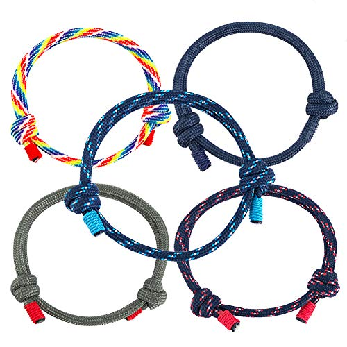BESTZY 5PCS Nautical Nylon Bracelets Handmade Braided Bracelet Set for Men Women Friendship Bracelet Set Colorful Adjustable Anklet Bracelets for Birthday Gift