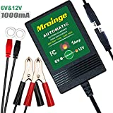 Mroinge MBC016 6V / 12V 1A fully automatic trickle battery charger/maintainer for automotive vehicle motorcycle Lawn Mower ATV RV powersport boat, sealed Deep-cycle AGM Gel cell lead acid batteries