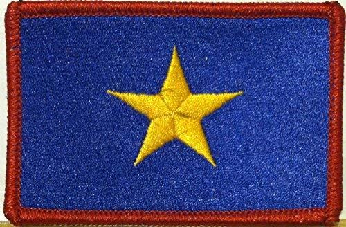 The Burnet Flag (1836-1839) Republic of Texas Flag Embroidered Patch with Hook & Loop MC Biker Patriotic USA Shoulder Morale Emblem #03 (RED Border)