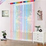 AIFENTE 2 cortinas con cuentas para puertas, cortina, divisor, cortina de cuentas para puerta, cortina de cuentas para ventana, cortina de cuentas de 100 x 200 cm, arco iris