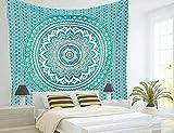 Popular Handicrafts Twin Ombre Tapestry Indian Mandala Wall Art, Hippie Wall Hanging, Bohemian Bedspread 54'x84'