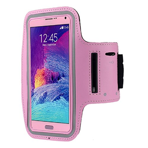 Meily For Samsung Galaxy Note 4, Fashion Sports Gym Armband Case (Pink)
