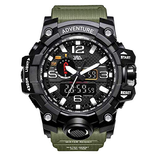 V2A Analogue - Digital Men's Watch (Black Dial Green Colored Strap)