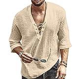 Men's Fashion Shirt Short Sleeve Beach V-Neck...