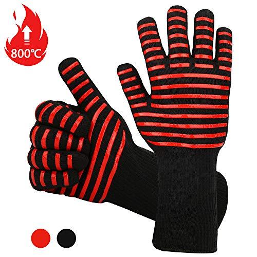 Vegena Grillhandschuhe Hitzebeständig 800 Grad,Silikon Grillhandschuhe Universalgröße Handschuhe,rutschfeste Hitzebeständige Ofenhandschuhe,Küche Kochhandschuhe Backhandschuhe für Kochen Backen (Rot)