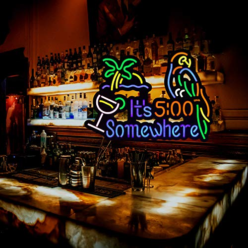 It's 5:00 Some Where & Parrot LED Neon Sign Art Wall Lights for Beer Bar Club Bedroom Windows Glass Hotel Pub Cafe Wedding Birthday Party Gifts