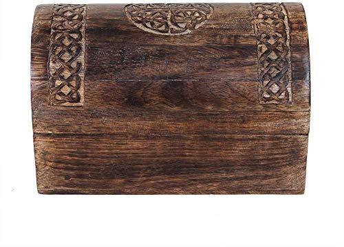 ShalinIndia Handmade Wooden Jewellery Storage Box with Celtic Carving Multipurpose Keepsake Jewelry Holder Organiser