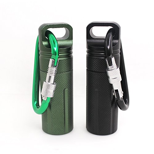 SENHAI Waterproof Pill Capsule Fob Bottle, Match Seal Storage Case, 2 Pack Aluminum Outdoor Airtight Holder Dry Containers, with 2 Locking Carabiners - Black, Green