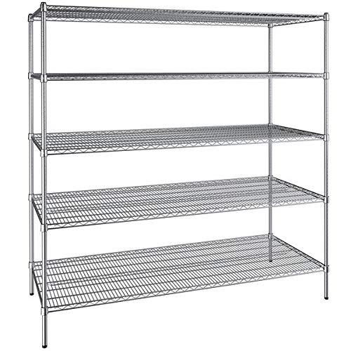 30 inch x 72 inch Chrome Wire 5 Shelf Kit with 74 inch Posts. Storage Shelf. Garage Storage Shelves. Shelving Units and Storage. Food Storage Shelf. Storage Rack. Bakers Racks