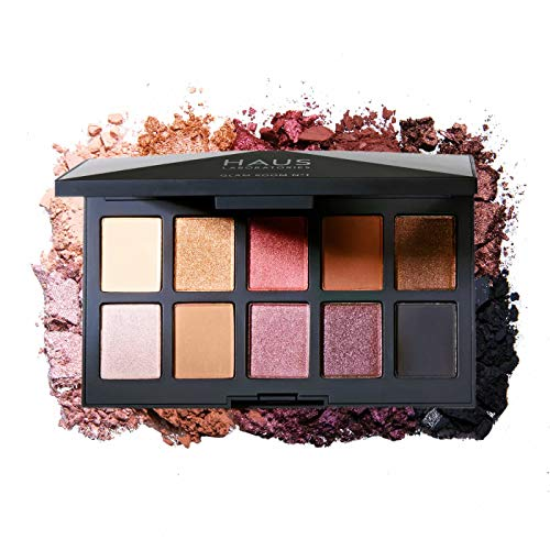 HAUS LABORATORIES By Lady Gaga: GLAM ROOM PALETTE NO. 1: FAME | 10-Shade Eyeshadow Palette, Blendable & Buildable Eye Makeup with Pigmented Matte, Metallic, Shimmer, and Sparkle Finishes