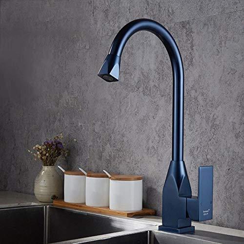 El espacio de agua de aluminio de cocina del grifo del fregadero de lujo sola manija baño del lavabo grifos de agua fría y caliente del grifo mezclador, Azul