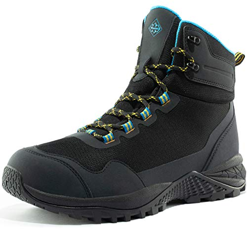 Wantdo Men's Waterproof Hiking Boots Mid Ankle Hiker Backpacking Shoes Outdoor Work Boots 9 M US Black