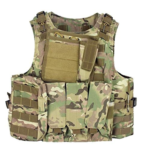 HUAJIANGHU Military Tactical Vest Wargame Outdoor Equipment Airsoft Plattenträger Multicam Armee Chest Paintball Vest Weste (Color : Multicam, Size : One Size)