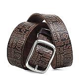 Lois - Cinturon Hombre Cuero Piel Genuina De Marca Hebilla doble metálica. flexible y duradero. Para vaqueros. Talla Ajustable ancho 40 mm. 49810, Color Cuero