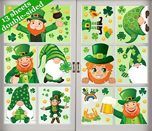 240PCS St Patrick#039s Day Window Clings Decorations  Saint Patty Shamrock Gnome Leprechaun Coin Decals Party Ornaments