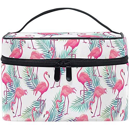 Fleur Palm Feuilles Oiseaux Roses Flamingo Mignon Trocial Cosmétique Sac Voyage Cosmétique Brosse Sac De Stockage Organisateur