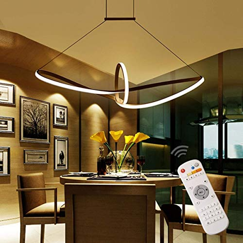 TINS 48W Lampadario LED,Tavolo da Pranzo Lampadario,Lampadari Moderni, Moderno Lampadario in Alluminio Ciondolo Fino a 120 CM di Altezza e Altezza Regolabile Acrilico (Dimming)