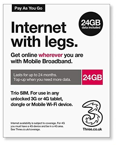 Three UK PAYG Trio Data SIM - 24GB & International Calling Card - (Love2surf Retail Pack)