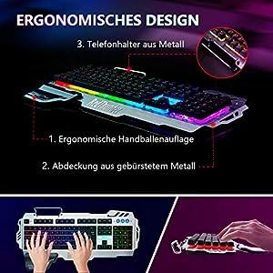 RedThunder K900 Halbmechanisch Gaming Tastatur [Version 2020], QWERTZ DEUTSCH Layout, RGB Beleuchtete Tastatur, Ganzmetallpaneel, 25 Tasten Anti-Ghosting, Tastatur Für PC/Laptop/PS4/Xbox One