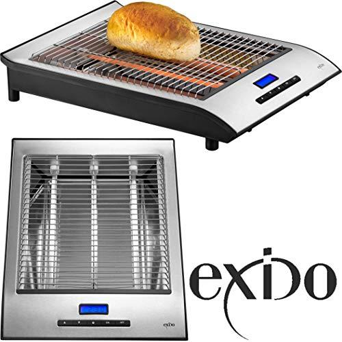 Exido 12140040 Flachtoaster mit Timer/Display Brötchen-Toaster, 700 Watt