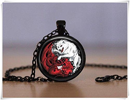 Beautiful Dandelion Hermoso Colgante de Diente de león Yin Yang con dragón de Lobo Chino de...