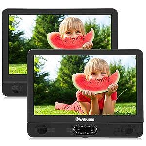 """NAVISKAUTO 12"""" Reproductor de DVD Portátil, Reposacabezas para Coche con 2 Pantallas (un Reproductor de DVD y un Monitor) para Niños en Viajes, Soporte AV-In/AV-out, USB, SD, Región Libre"""