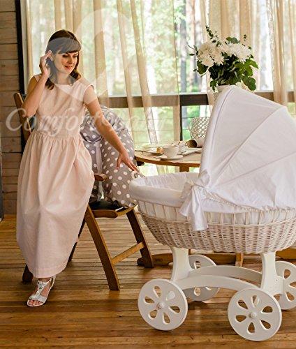 ComfortBaby ® HOME XXL Baby Stubenwagen mit Moskitonetz - komplette 'all inclusive' Ausstattung - Zertifiziert & Sicher (Weiß-Weiß)