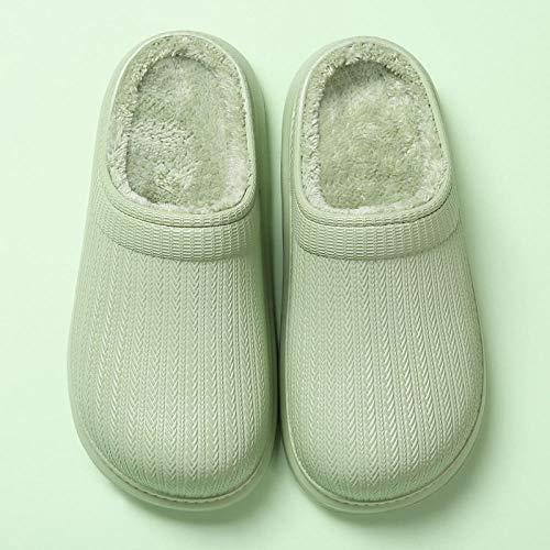 ypyrhh Home rutschfest Pantoffeln für,wasserdichte Hausschuhe,warme Baumwollschuhe mit runden Zehen-grün_39-40,Plüsch Memory Foam rutschfeste Indoor Pantoffel