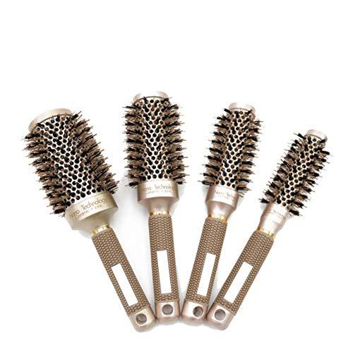 4pcs Peine profesional, Nano Ceramica Y barril jónico Cepillo térmico redondo Cepillo de rizado para el hogar y peluquería (B)