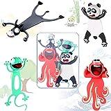 4 Marcadores de Libro de Animal Loco 3D Marcador de Libros de Animales de Dibujos Animados Divertidos Marcapáginas de Amigos Aplastados de Papelería Animales Lindos para Estudiantes y Niños