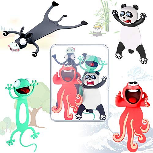 4 Pieces 3D Wacky Animal Bookmark Funny Cartoon Animal Book Marks Squashed Pals Bookmark Cute Animals Stationery for Students and Kids (Panda, Donkey, Octopus, Gecko)