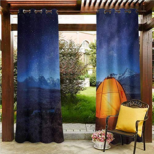 "ScottDecor Night Block Out Drapes for Door Porch Sun Room Camping Tent Under a Night Sky Full of Stars Holiday Adventure Exploring Outdoors Blue Orange 100"" W by 84"" L(K254cm x G213cm)"