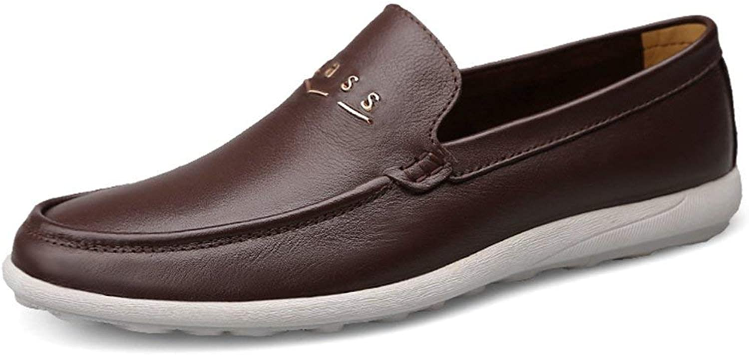 ZHRUI Boy's Men's Rubber Sole Slip-on Synthetic Penny Loafers (color   Dark Brown, Size   6 UK)